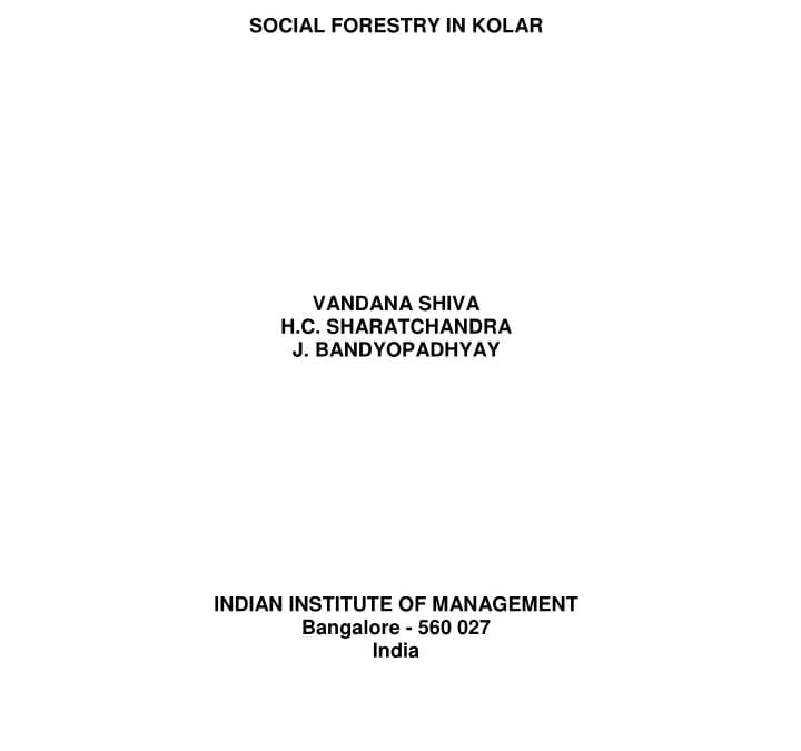 Social Economic And Ecological Impact Of Social Forestry In Kolar